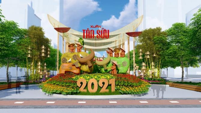 Chiêm ngưỡng đường hoa Nguyễn Huệ xuân Tân Sửu 2021