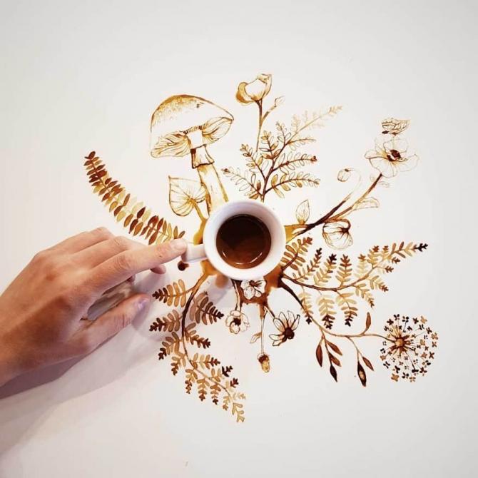 Những bức vẽ độc đáo từ cà phê
