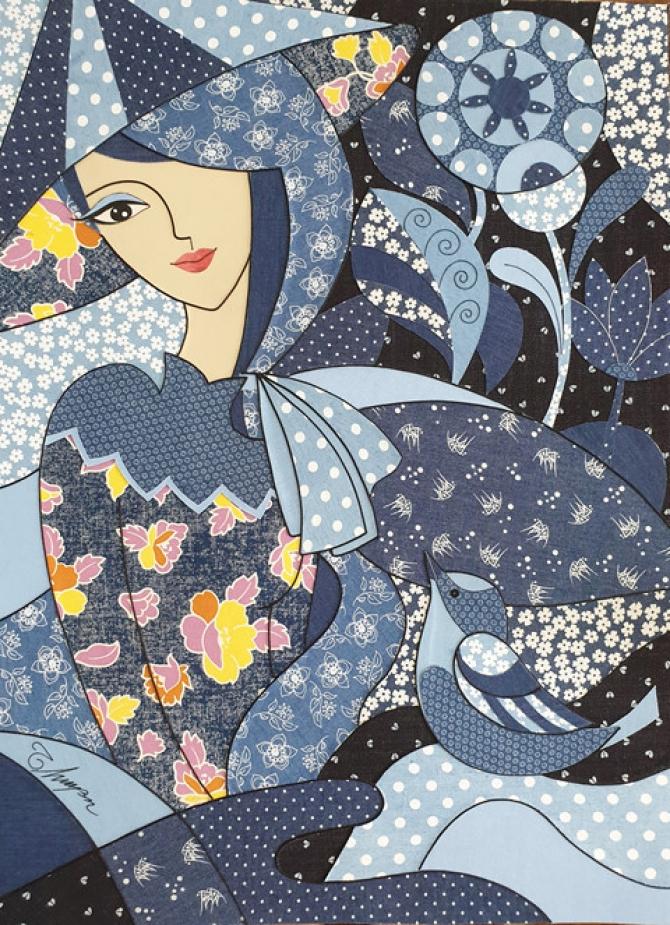 Nữ hoạ sĩ dệt tranh từ vải